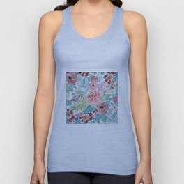 Pretty watercolor hand paint floral artwork. Unisex Tank Top