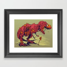 Zombie T-Rex Framed Art Print