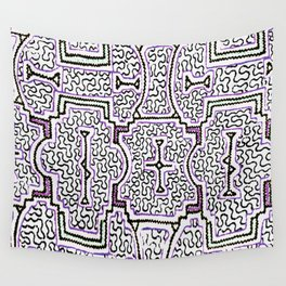 Song to Support Good Health - Traditional Shipibo Art - Indigenous Ayahuasca Patterns Wall Tapestry