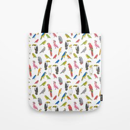 Tropical birds jungle animals parrots macaw toucan pattern Tote Bag