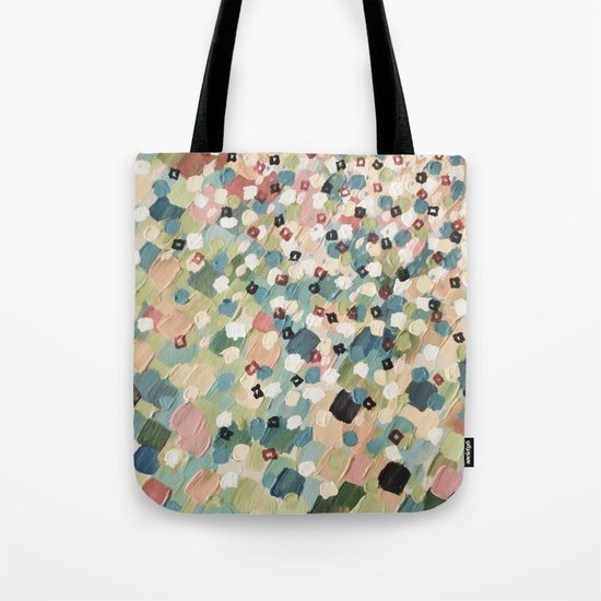 SWEPT AWAY 4 - Lovely Shabby Chic Soft Pink Ocean Waves Mermaid Splash Abstract Acrylic Painting Tote Bag