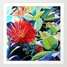 Red Ohia Lehua Art Print