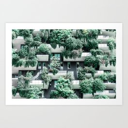 Bosco Verticale, Building Facade, Vertical Forest, Modern Architecture, Residential Towers, Milan Tower, Green Trees, Floral Plants, Italy Building Art Print