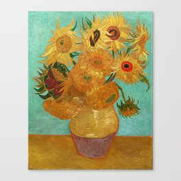 Vincent Van Gogh Twelve Sunflowers In A Vase Canvas Print
