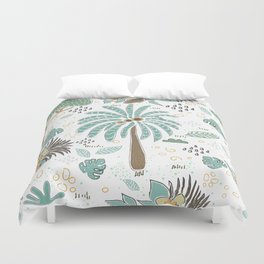 Seamless Pattern with Safari Trees. Scandinavian Hand Drawn Style Duvet Cover