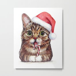 Cat in Santa Hat with Candy Cane Funny Christmas Animal Metal Print