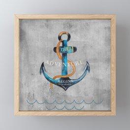 Maritime Design- Nautic Anchor Navy Marine Beach Framed Mini Art Print