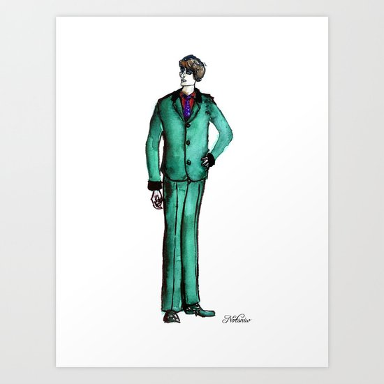 Beetles Green Dandy Art Print