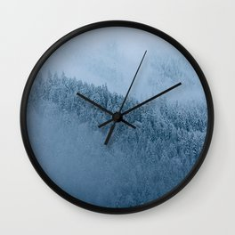 Omnious foggy winter forest - landscape photography Wall Clock