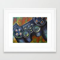 playstation Framed Art Prints featuring Playstation  by Megan Bailey Gill