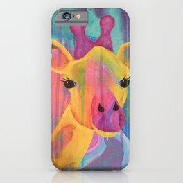 Whimsical Abstract Giraffe in Jewel Tone Colors Aqua Pink Purple Blue Yellow iPhone Case