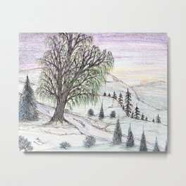 The Lone Willow Metal Print