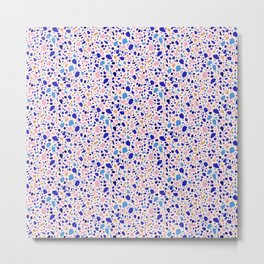 Terrazzo Stone Pink Blue Abstract Mosaic Pattern Metal Print