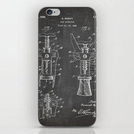 Cork Screw Patent - Wine Art - Black Chalkboard iPhone Skin