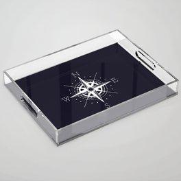 Navy Nautical - White Compass Acrylic Tray