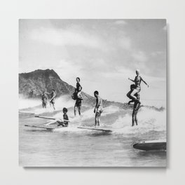 Vintage Hawaii Tandem Surfing Metal Print