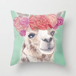 Flower Crown Llama Throw Pillow