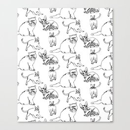 Minimal Black Line Cat Pattern Canvas Print