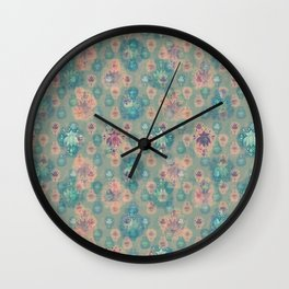 Lotus flower - pistachio green woodblock print style pattern Wall Clock