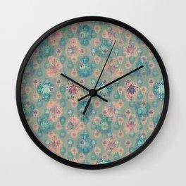 Lotus flower - pistachio green woodblock print style pattern Wall Clock