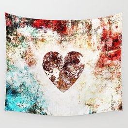 Vintage Heart Abstract Design Wall Tapestry