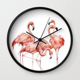 Pink flamingo. Watercolor Wall Clock