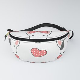 Lovely bull terrier with pink ribbon Fanny Pack