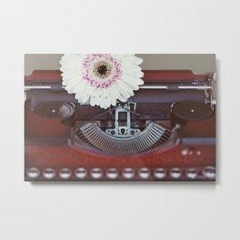 Message of Love Typewriter Metal Print
