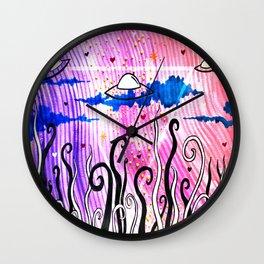 Abstract UFOs Wall Clock