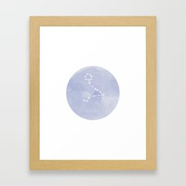 Pisces Zodiac sign blue Framed Art Print