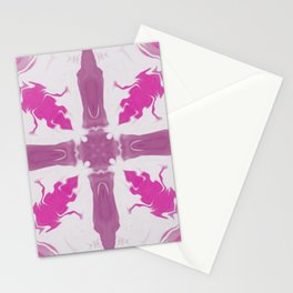 Amethyst & Hot Pink Gemstone Liquid White Smoke Kaleidoscope 1 Digital Painting Stationery Cards