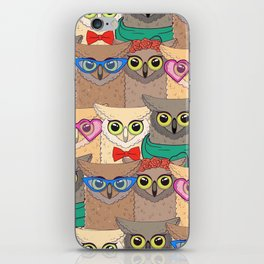 Pattern with cute owls with trendy accessories - glasses, bow-tie, flowers, scarf iPhone Skin