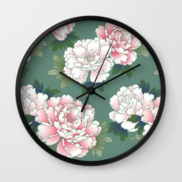 Japanese Vintage Pink Peonies Green Leaves Kimono Pattern Wall Clock