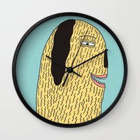 the dude Wall Clocks featuring Dude by MALKERM