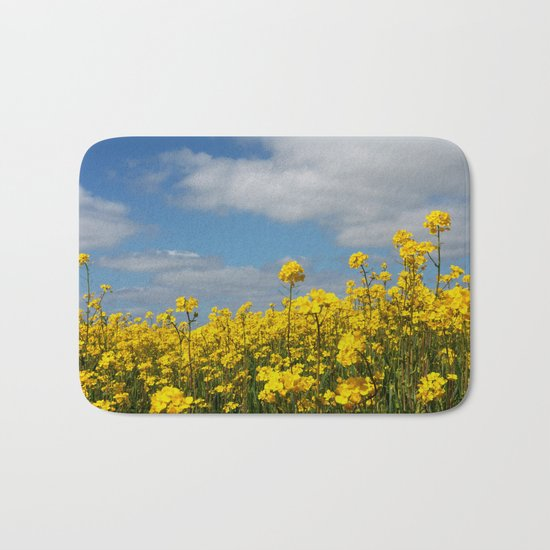 Rape yellow flowers Bath Mat