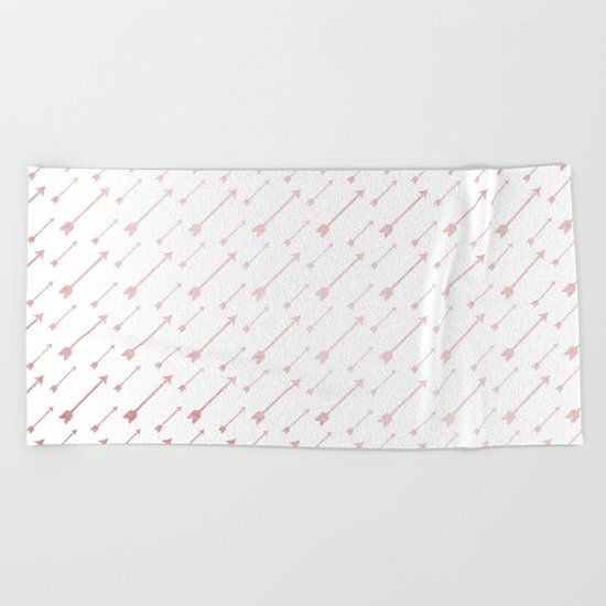 Simply Arrows in Rose Gold Sunset Beach Towel