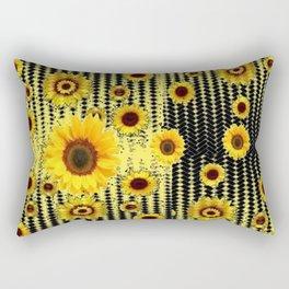YELLOW ART DECO SUNFLOWERS BLACK ABSTRACT DESIGN Rectangular Pillow
