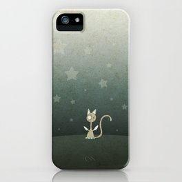 Small winged polka-dotted beige cat and stars iPhone Case