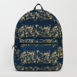 Abstract navy blue watercolor gold color stripes Backpack