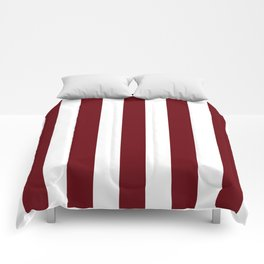 Rosewood red - solid color - white vertical lines pattern Comforters