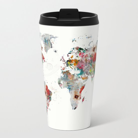 world map abstract  Metal Travel Mug