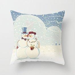 Winter. Snowmen. Love. Throw Pillow
