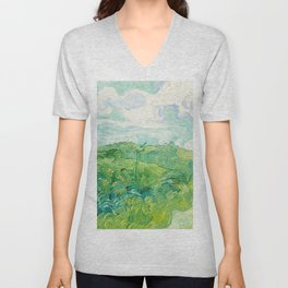 Green Wheat Fields - Auvers, by Vincent van Gogh Unisex V-Neck