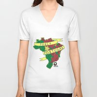 portugal V-neck T-shirts featuring Força Portugal by iso.