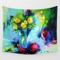 wine Wall Tapestries featuring Pomegranate wine by OLHADARCHUK