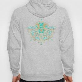 Sacred Lotus Mandala – Turquoise & Gold Palette Hoody