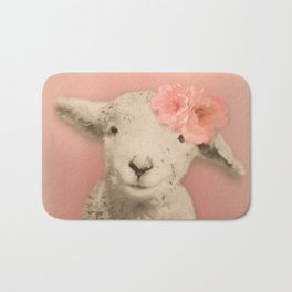 Flower Sheep Girl Portrait, Dusty Flamingo Pink Background Bath Mat