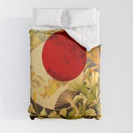 Japanese Ginkgo Hand Fan Vintage Illustration Comforters