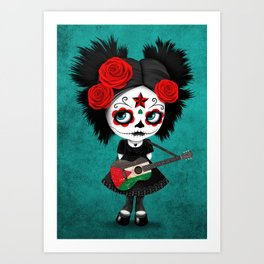Day of the Dead Girl Playing Palestinian Flag Guitar Art Print