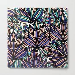 Modern hand painted black coral teal watercolor floral Metal Print